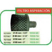 FILTRO ASPIRACION PARA MOTOBOMBA 25 MM DE DIAMETRO