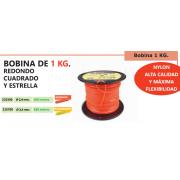 BOBINA DE NYLON 1 KG REDONDO, CUADRADO Y ESTRELLA