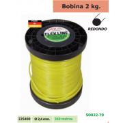 BOBINA DE NYLON DE 2 KG REDONDO 2,4 MM