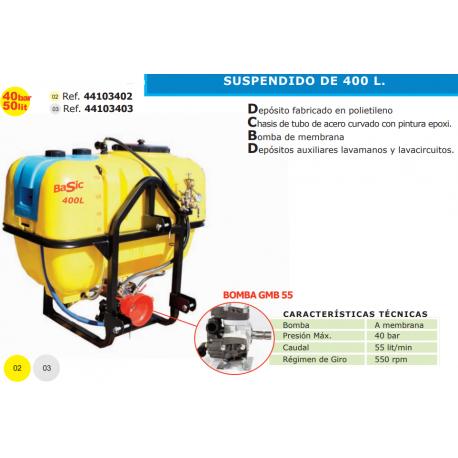 EQUIPO DE PULVERIZACION SUSPENDIDO PARA TRACTOR 400L GMB 55-S 400