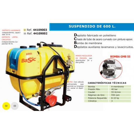 EQUIPO DE PULVERIZACION SUSPENDIDO PARA TRACTOR 600L GBM 55-S 600