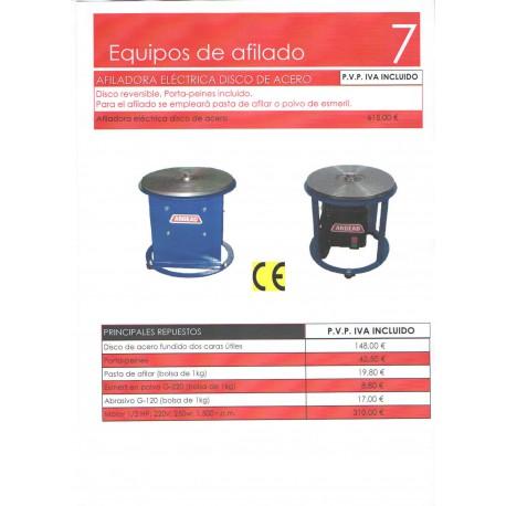 Disco reversible, porta-peines incluido, para el afilado se empleara pasta de afilar o polvo de esmeril.