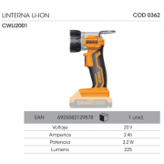 LINTERNA LED INGCO A BATERIA LI-ON 20V CWLI2001